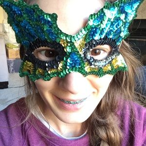 Vintage Accessories - Sequin Butterfly Masquerade Mask Halloween